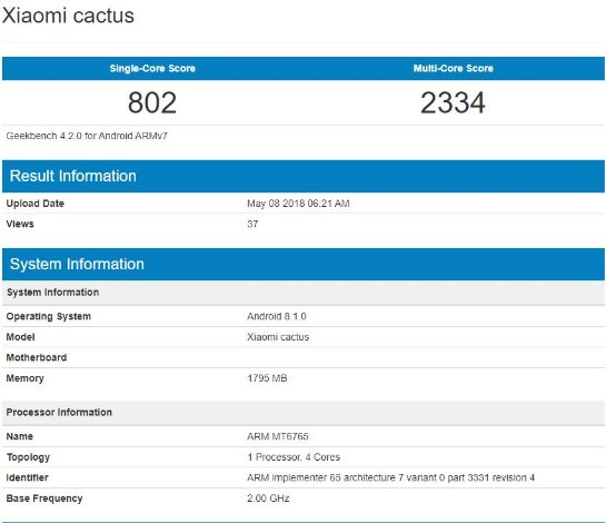 Xiaomi Cactus: возможно новый бюджетный смартфон на Android 8.1 с чипом MediaTek